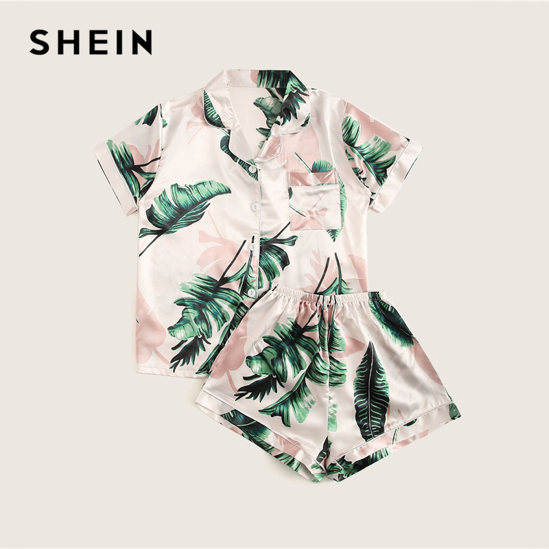 Image 2 - SHEIN Tropical Print Satin Pajama Set Casual Sleep Wear Shorts Sets Short Sleeve Pocket Women Summer Pajama Set-in Pajama Sets from Underwear & Sleepwears