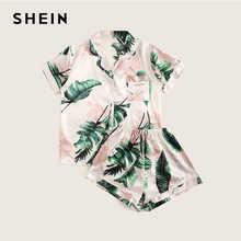 SHEIN Tropical Print Satin Pajama Set Casual Sleep Wear Shorts Sets Short Sleeve Pocket Women Summer Pajama Set