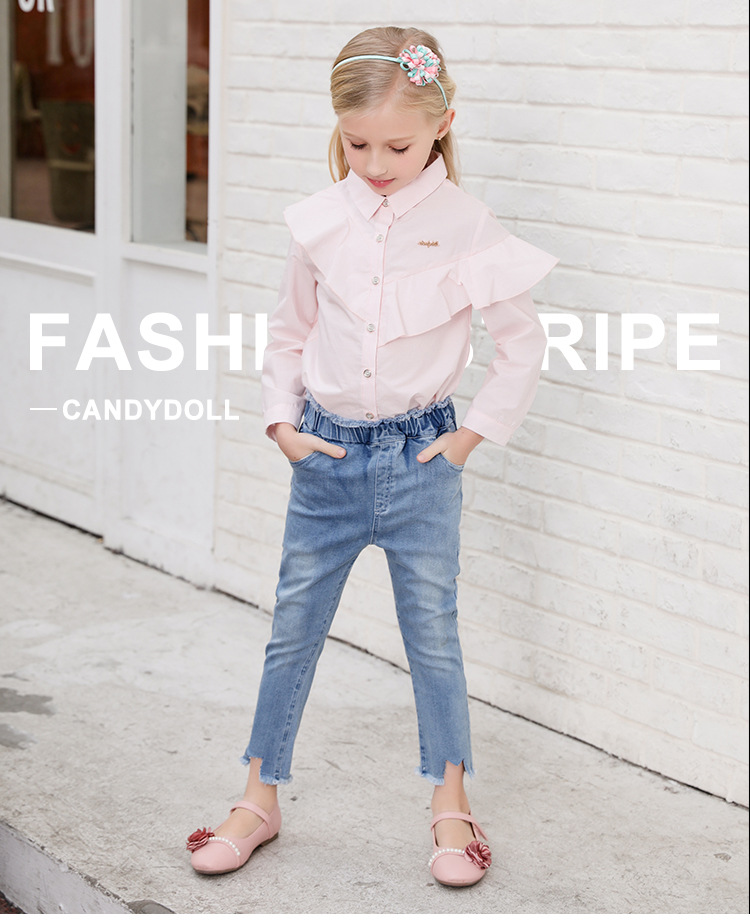 CANDYDOLL The fall new kids jeans are all cotton stretch pants washed