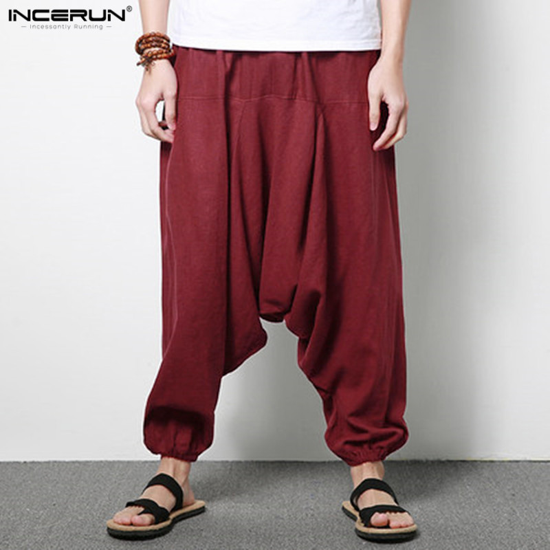 INCERUN Men Loose Pants Wide Legs Casual Personality China Style Linen Drop Crotch Harem Low-grade Collapse Pants Plus Size 5XL