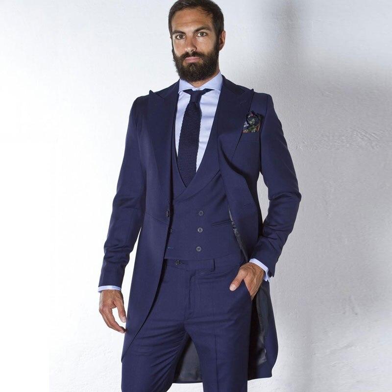 Vintage Navy Blue Tailcoat Men Suits For Wedding Custom Made Groom Tuxedos Man Long Blazer 3Piece Terno Masculino Groomsmen Suit
