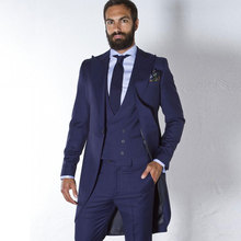 Vintage Navy Blue Tailcoat Men Suits for Wedding Custom Made Groom Tuxedos Man Long Blazer 3Piece Terno Masculino Groomsmen Suit