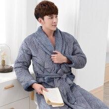 Winter 3 Layers Quilted Bath Robe Men Bathroom Robe Men Bathrobe Men Quilted Pajama Thick Flannel Long Spa Robe Shower Homewear