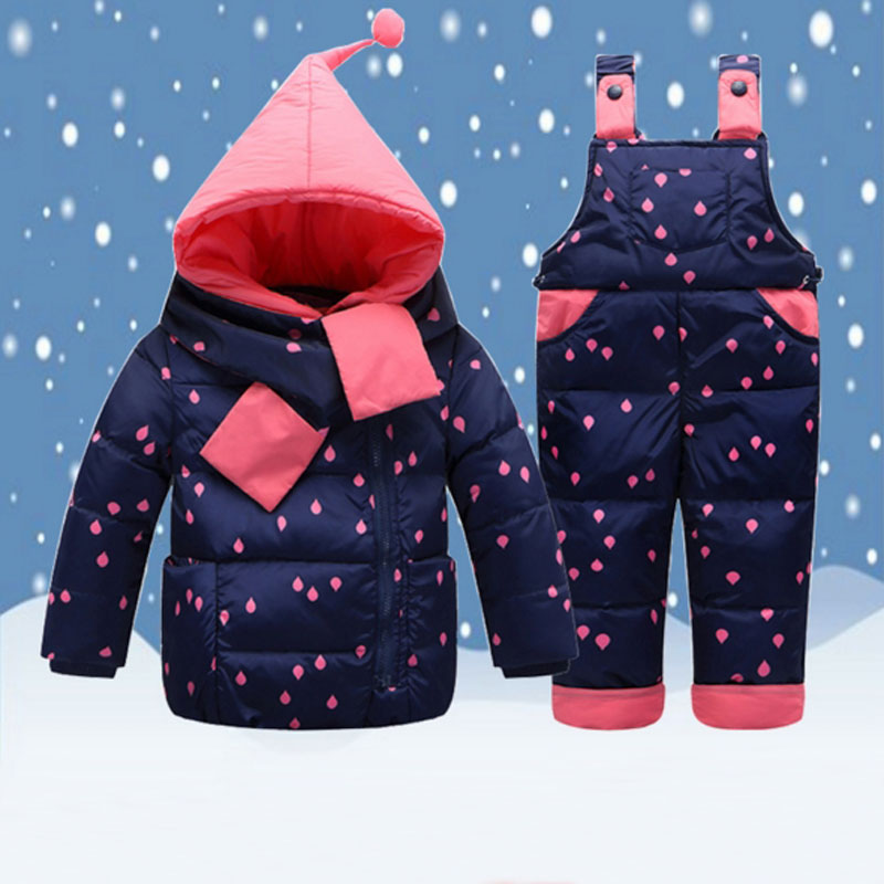 Kids Clothes Winter Down Jackets For Baby Boy Girls Warm Coat Toddler Snowsuits Children Outerwear Coat+Pant+Scarf Clothing Set kids snowsuit clothes winter down jackets for girls boy children warm jacket toddler outerwear coat pant set deer print clothing