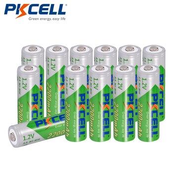12 x PKCELL Bateria Recarregavel AA NiMH Низкая саморазряд прочный 1,2 V 2200mAh Ni-MH аккумуляторные батареи 2A Bateria