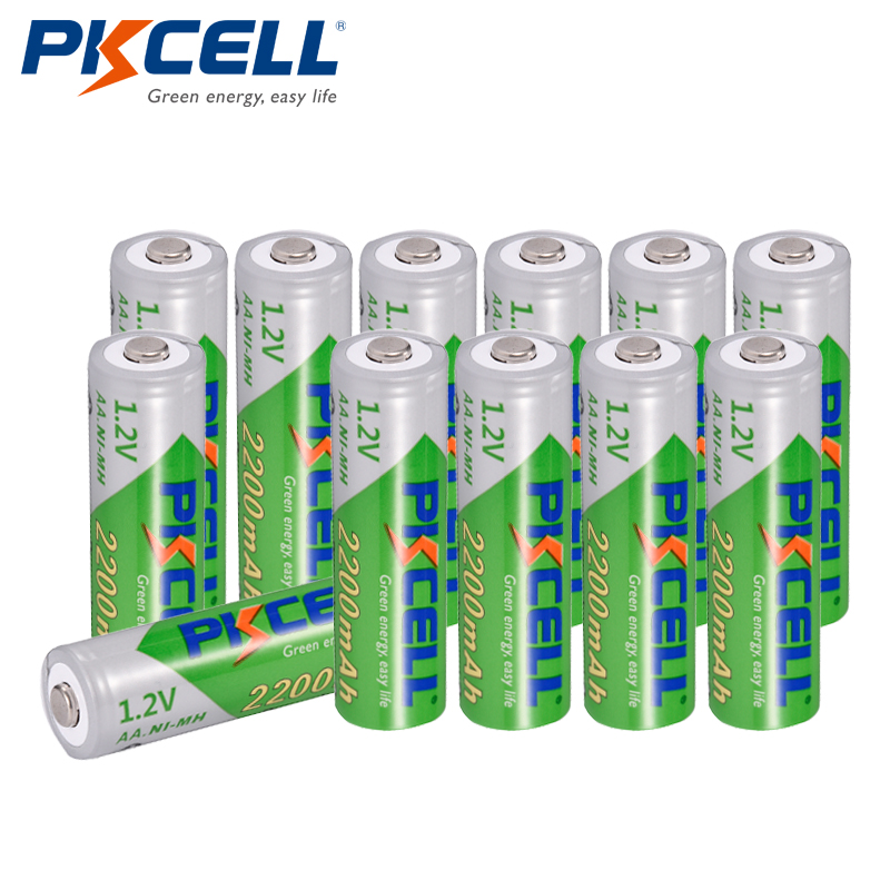 12 x PKCELL Low self-discharge Durable AA Battery 1.2V 2200mAh Ni-MH Rechargeable Batteries 1.2 Volt 2A