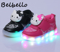 Belbello Boys Girls Luminous LED Shoes Children Flats Kid Shoes Cartoon Hello Kitty Fashion Casual Loop