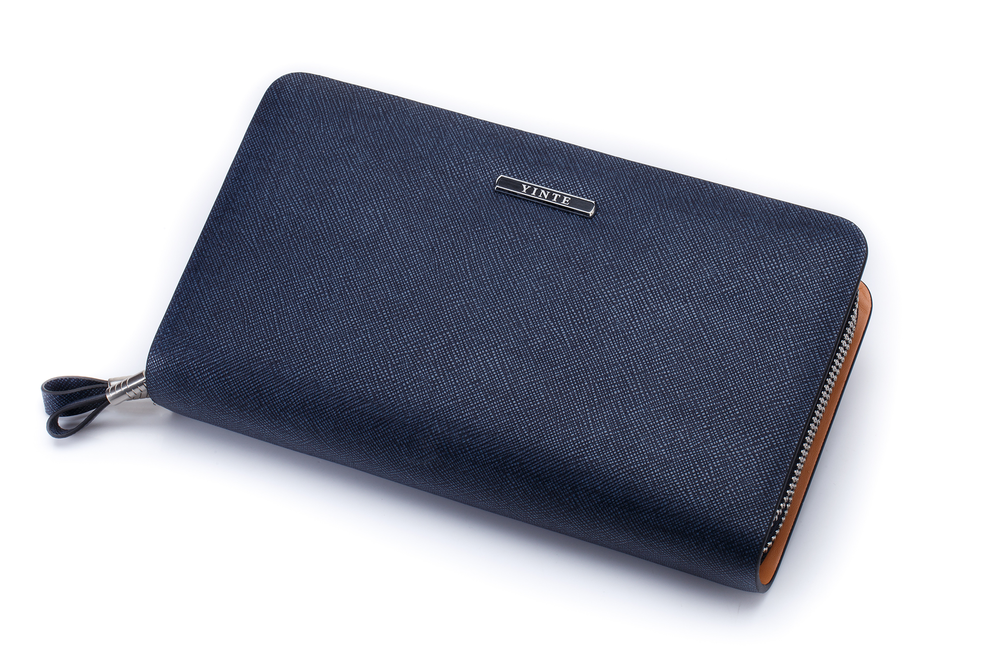 YINTE Mens Clutch Wallets Leather Handbag Organizer Wallet Phone Cash Holder Pocket Blue Color Passport Purse Two Size T029-2