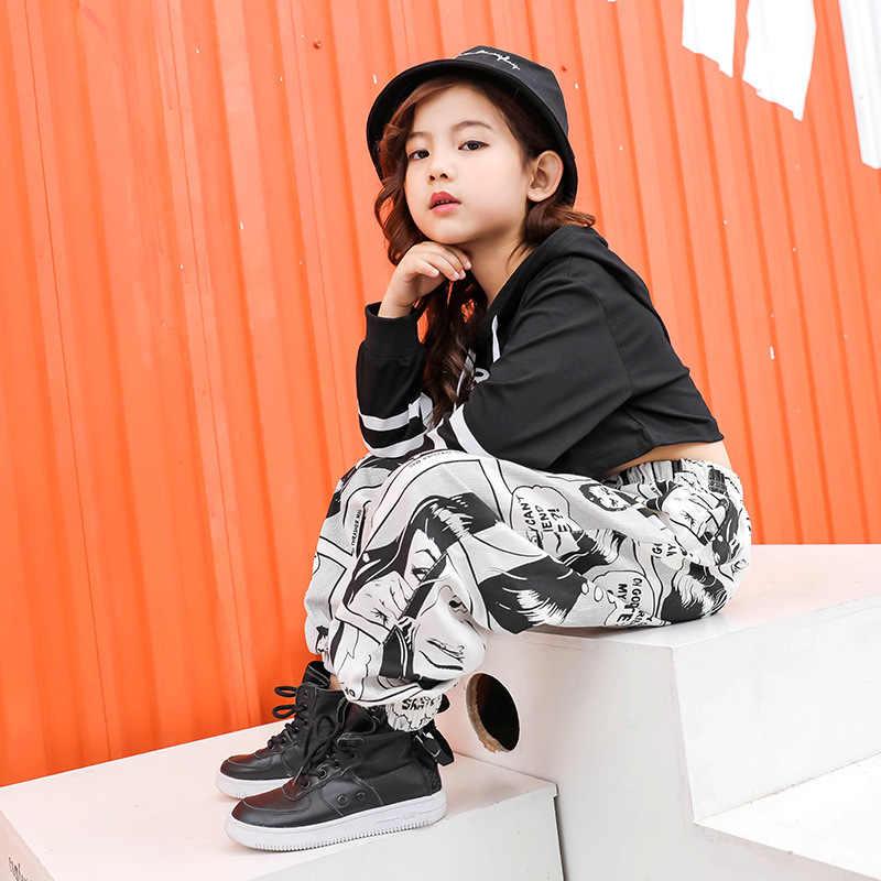 Kid Print Casual Broek Cropped Hoodie Shirt Sweatshirt Top Voor Meisje Hip Hop Kleding Dans Kleding Stijldansen Kostuum Dragen