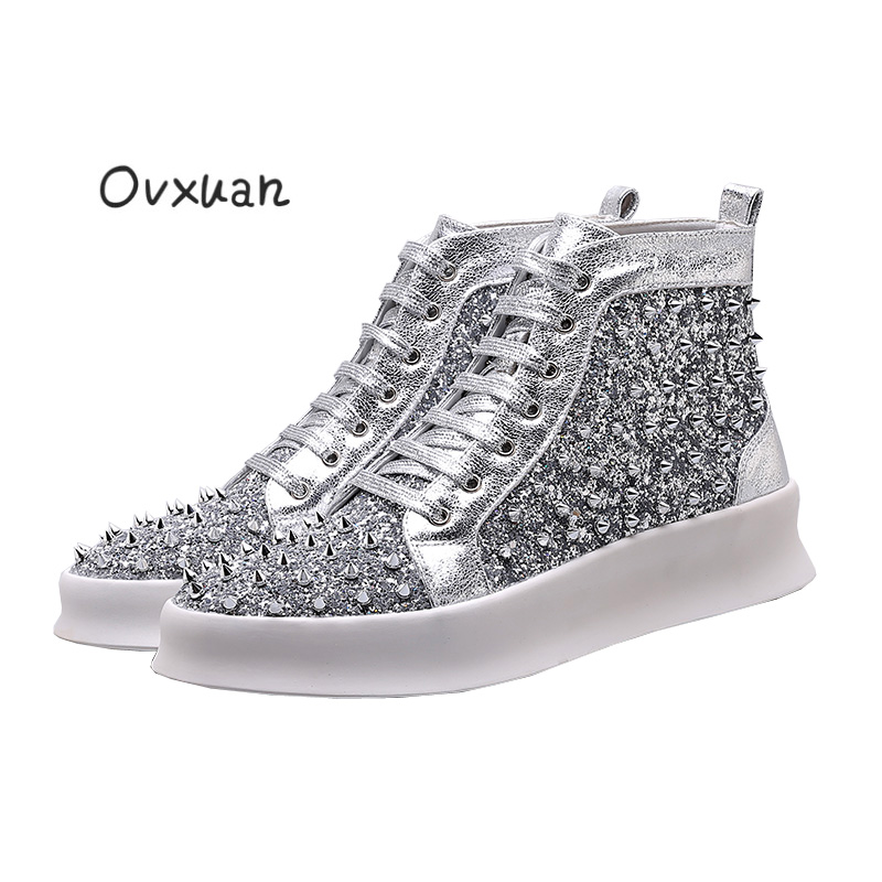 Luxury Brand Prom NightClub Dress Casual Rivet High Top Boots Men shoes Spike hip hop Motorcycle