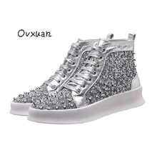 Handmade Long Rivets Bright Sequins High Casual Sneakers Men Fashion Party and Banquet Chaussure Homme Cuir Mocassin Sneakers
