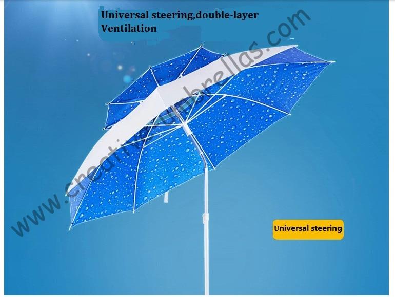 2 metrų diametro 70T aliuminio veleno stiklo pluošto 210Doxford Anti UV universalus reguliuojamas paplūdimio žvejybos lauko skėčiai