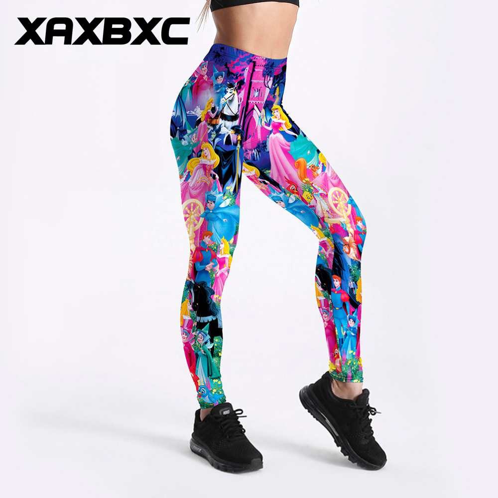 XAXBXC 3506 Sexy Girl Pencil Pant Cartoon Sleeping Beauty Princess Prints Elastic Slim Fitness Workout Women   Leggings   Plus Size