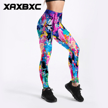 XAXBXC 3506 Sexy Girl Pencil Pant Cartoon Sleeping Beauty Princess Prints Elastic Slim Fitness Workout Women Leggings Plus Size