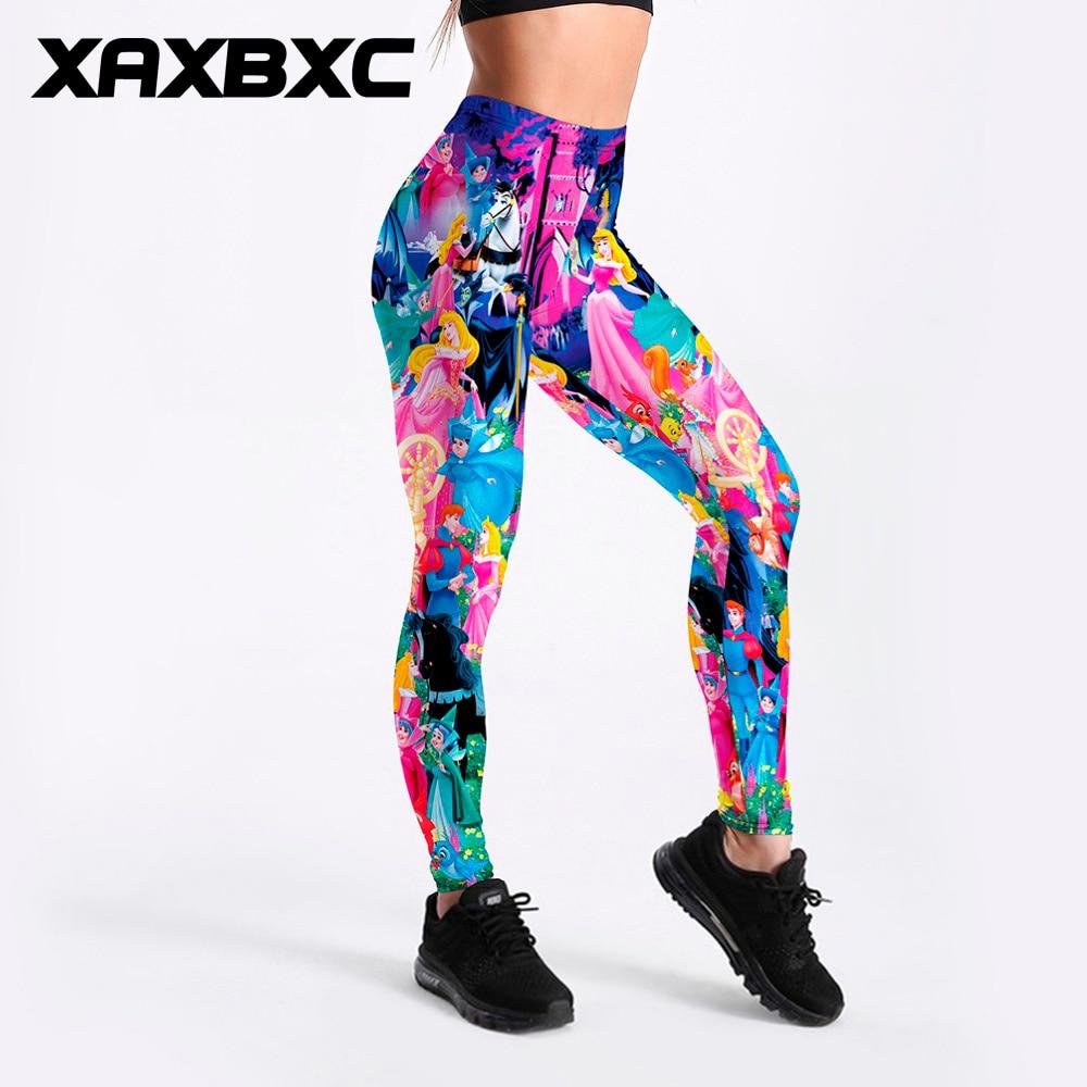 XAXBXC Sexy Girl Pencil Pant Cartoon Sleeping Beauty Princess Prints Elastic Slim Fitness Workout Women   Leggings   Plus Size