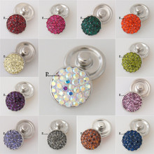 10pcs/lot 12mm Rhinestones crystal snap button with copper buttons for bracelets and necklace pendant  jewelry