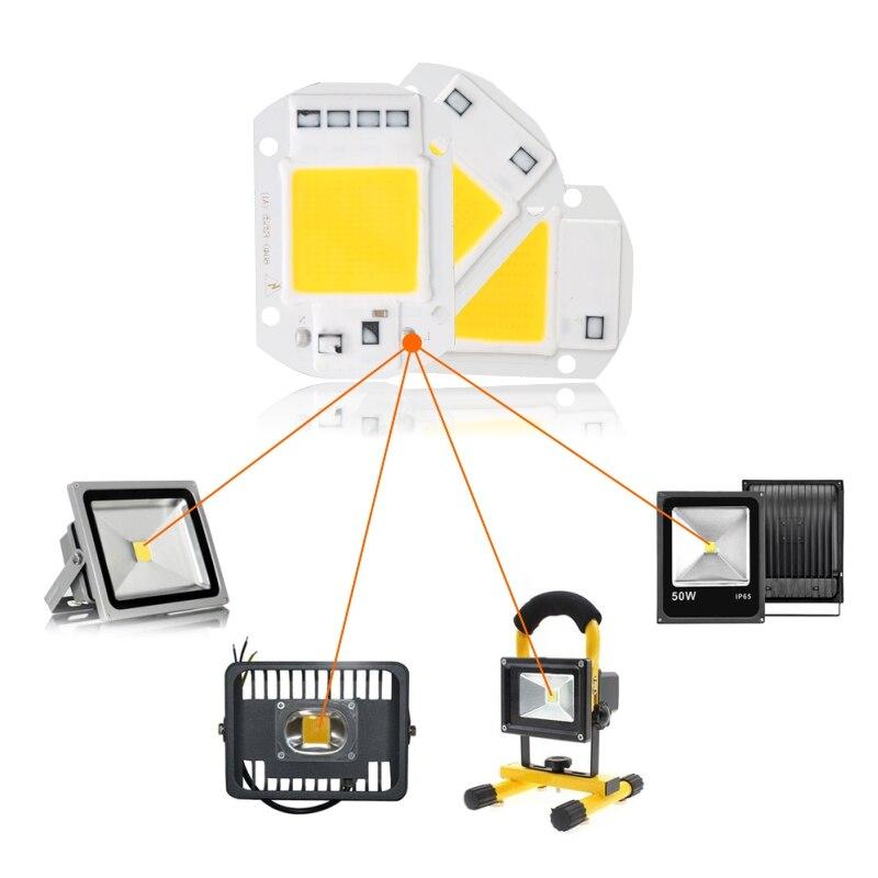 Купить с кэшбэком LATTUSO 6pcs LED COB Chip 10W 20W 30W 40W 50W AC 220V 110V No need driver Smart IC bulb lamp For DIY LED Floodlight Spotlight