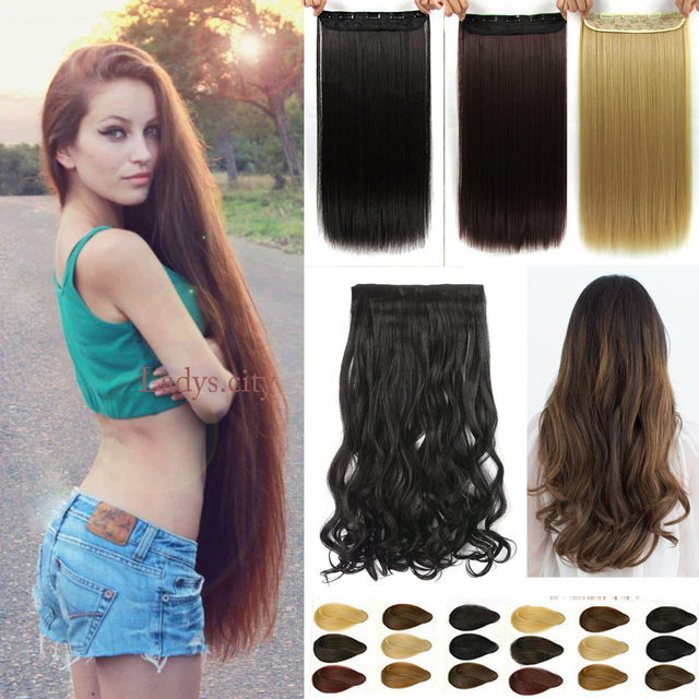 Natural Long Straight Hair Clip In On Extensions 23 30 Inch Length Super Blonde