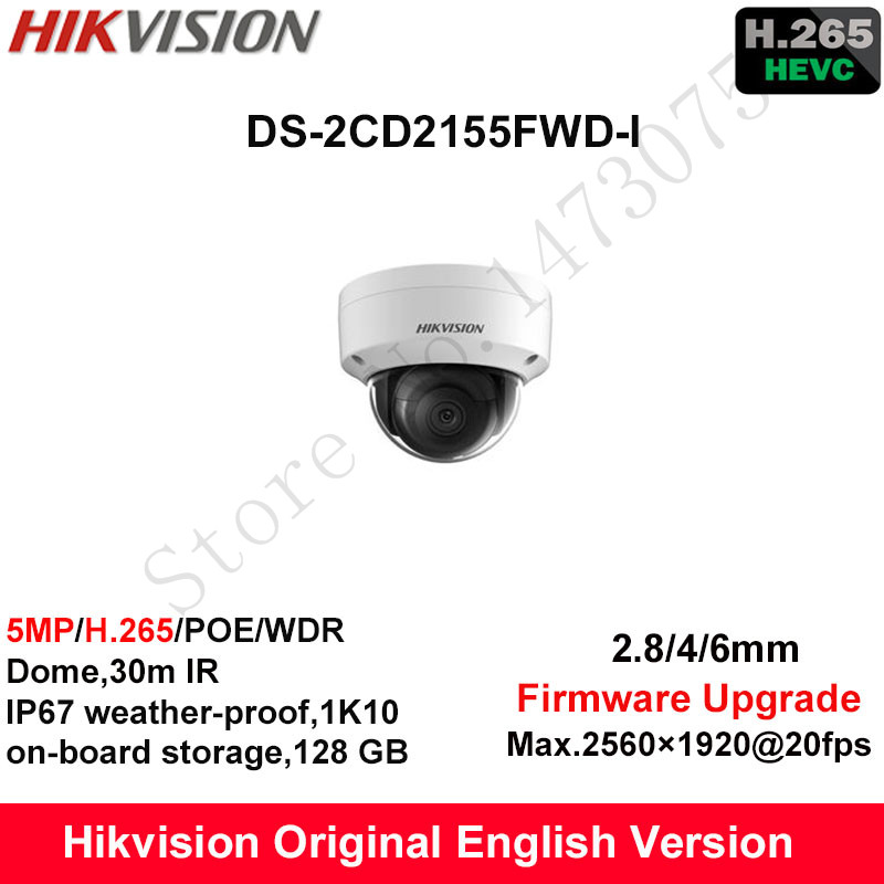In Stock Hikvision English Security Camera DS-2CD2155FWD-I 5MP H.265+ Mini Dome CCTV Camera WDR IP Camera POE Fixed IP67 1K10 hikvision original english h 265 5mp ip camera security outdoor camera ds 2cd2055fwd i 5mp bullet cctv ip camera h 265 ip67 poe