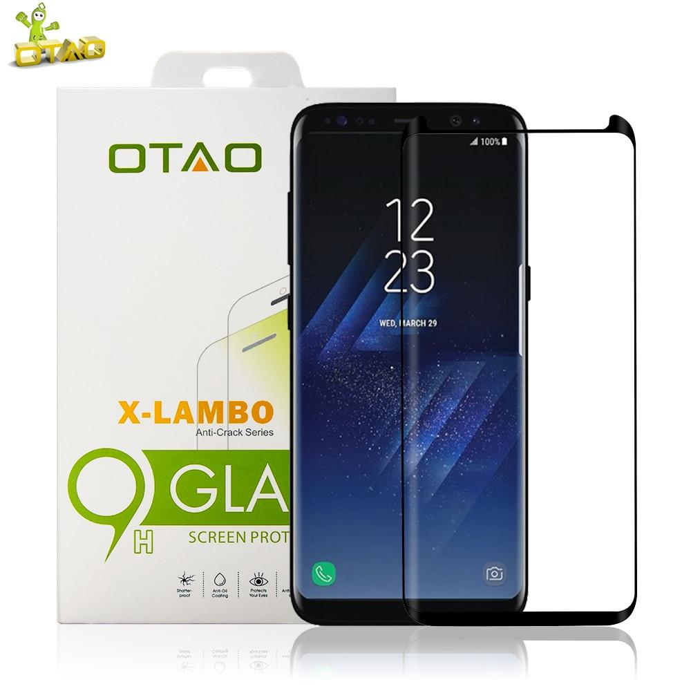 OTAO korpuss draudzīgs 3D izliekta rūdīta stikla ekrāna aizsargs priekš Samsung Galaxy S8 S8 Plus pilna apvalka telefona zāles plēves