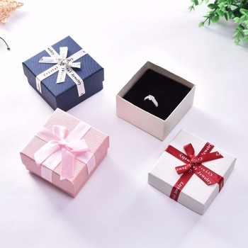 10 Pcs/Lot Jewelry Boxes Kraft Paper Ribbon Bow Ring Gift Packaging Favour Vintage Cases Drop Shipping