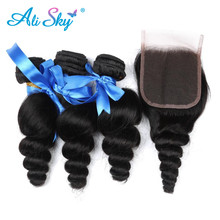 3 Bundles Malaysian Loose Wave with Pre Plucked Closure With Baby Hair Bouncy Curl no shedding no tangle Non Remy black 1b