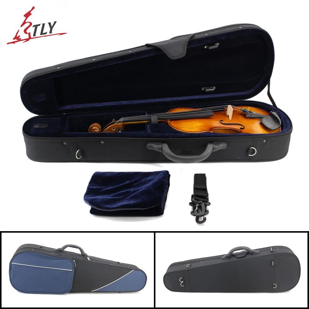 Blue & Black Stitching Oxford Triangle Violin Case w/ Straps for 4/4 3/4 1/2 1/4 1/8 1/16 Violin 3 4 4 4 1 2 1 4 1 8 1 16