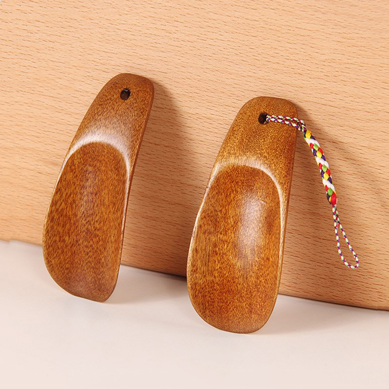 1pcs Solid Wood Shoehorn Natural Wooden Shoe Horn Portable Craft Long Handle Shoe Lifter Shoes Accessories