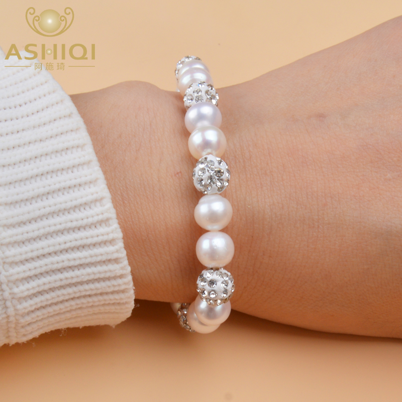 Ashiqi Genuine Brilliant Natural Freshwater Pearl Bracelets With Clay Zircon Ball Elasticity Bracelet For Women Gift