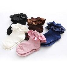 От 0 до 7 лет носки для новорожденных хлопковые носки длиной до щиколотки, с бантом, носки для маленьких девочек, футболка принцессы с оборками манжеты Носки милое кружевное носки-тапочки детские гетры