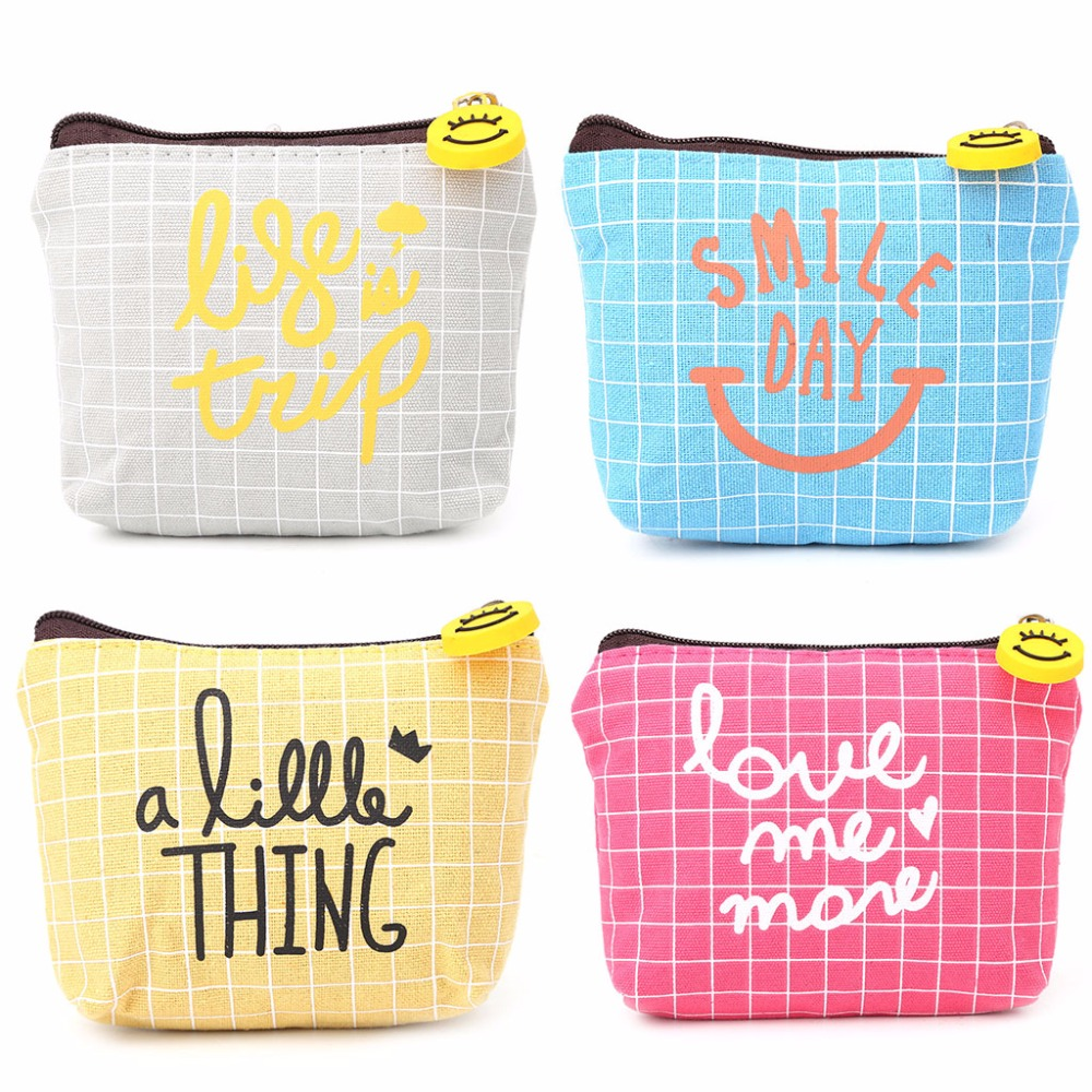 THINKTHENDO Casual Canvas Cute Women Girls Change Wallet Pouch Small Credit Card Key Holder Pocket Coin Purse Zipper 4 Color canvas classic retro small change coin purse little key pouch money bag cotton pocket pouch women zipper key case holder wallet