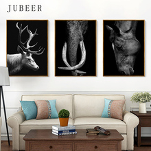 Nordic Minimalist Poster and Print Elephant Horse Deer Canvas Art Black White Animal Decorative Painting for Living Room