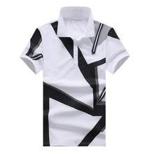 Novo 2018 Da Marca POLO Camisa Dos Homens do Algodão Da Forma Geométrica  Padrão de Impressão Camisa Polo Verão Curto-luva Camisa. 42f5c81645815