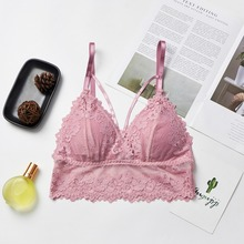 Fashion Bra Wireless Chest Padded Bras Hollow Out Bralette Women Seamless Lace Sexy Lingerie
