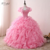 PEORCHID Pink Ball Gowns Quinceanera Dresses With Wrap Ruffled Organza Tiered Skirt Beaded Sweetheart Sweet 16 Debutante Gown