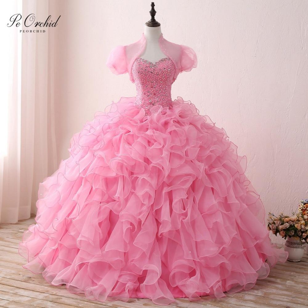 Peorchidée rose robes de bal Quinceanera robes avec Wrap ébouriffé Organza jupe à plusieurs niveaux perlée chérie douce 16 Debutante robe