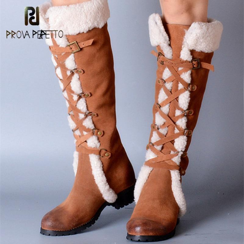 Prova Perfetto/зимние сапоги из натуральной овечьей кожи с мехом, с перекрестной шнуровкой, с узкими лентами, Элегантные зимние сапоги до колена на