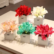 Artificial flowers peony bonsai potted Ceramic vase Potted plants flower home decoration party supplies wedding