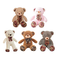 100cm Printed Bow Tie Plush Bear Toys Stuffed Animals Soft Toys Plush Dolls For Baby Kids Christmas Gifts Gift to the Girl