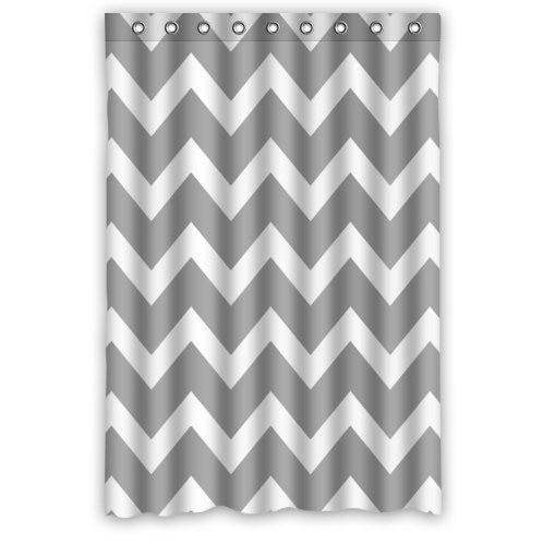 Love Chevron Pattern Grey White Waterproof Bathroom Fabric Shower Curtain,Bathroom decor 48