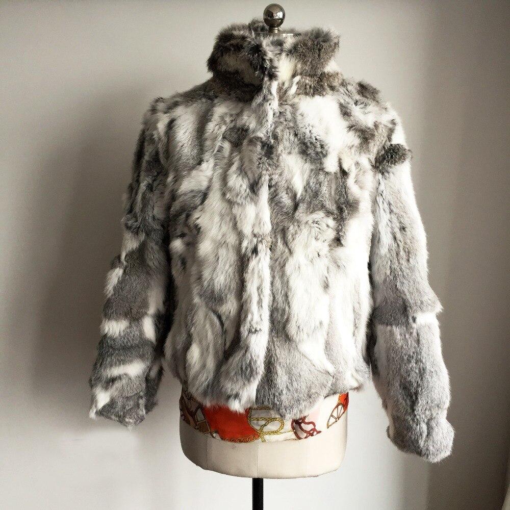 2019 New Arrival Wholesale 100% Real Rabbit Fur Coat Full Pelt Sexy Customize Wholeskin Fur Outwear Plus Size Jacket SR61