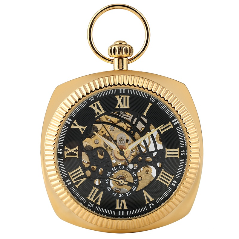 Fashion Hand-winding Mechanical Pocket Watch Unique Square Fob Watches Men Round Snake Chain Pendant Clock Gift 2019