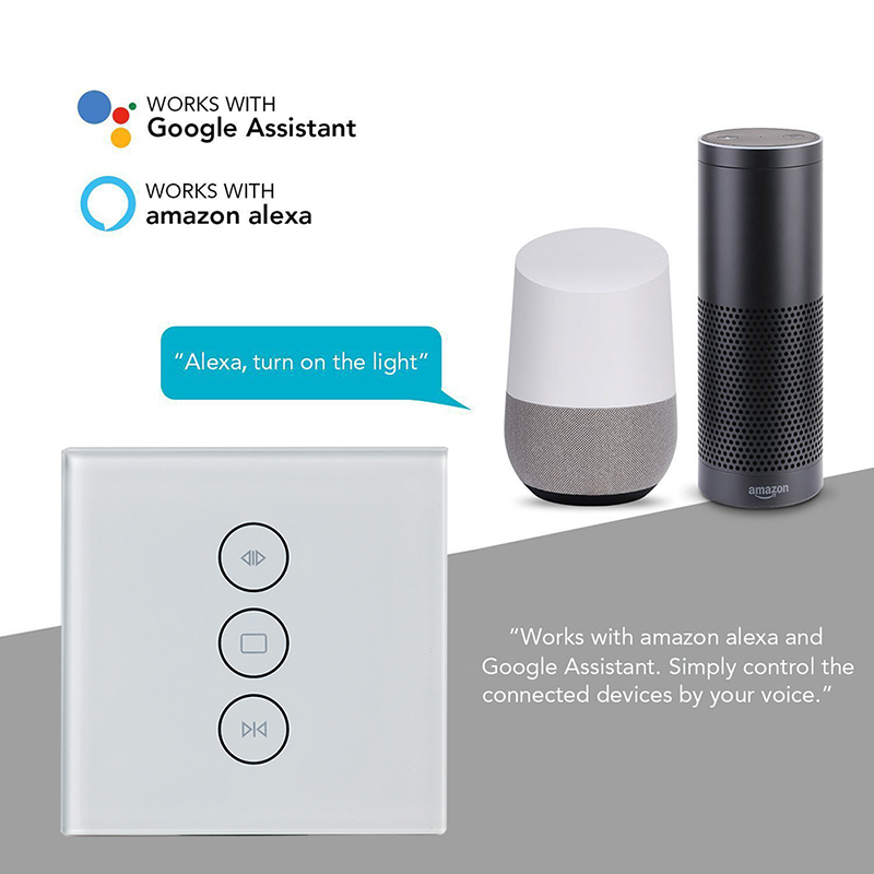 EU / US Wifi touch curtain switch wall switch voice control by Alexa /Google phone control For Electric curtain motor smart home-in Home Automation Modules from Consumer Electronics