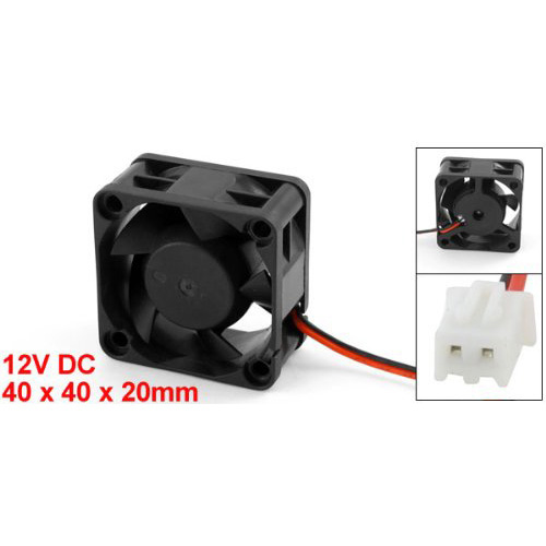 YOC Hot New Black Plastic 12V DC 40mm 20mm 2 Wire Computer PC CPU Cooling Case Fan