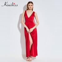 Kinikiss Women Maxi Dress 2017 Summer Dress Red Deep V Neck Lace Up Split Long Party