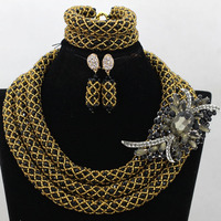 Charms Brown/Beige African Statement Women Party Jewelry Set Nigerian Choker Wedding&Events Costume Bridesmaid Necklace QW422