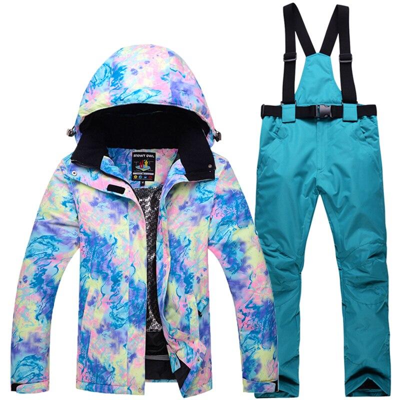 Saenshing Camouflage Hiver Combinaison De Ski Féminin Chaud et Imperméable Veste De Ski De Neige + Denim Snowboard Pantalon Femmes Montagne Femmes combinaison de Ski