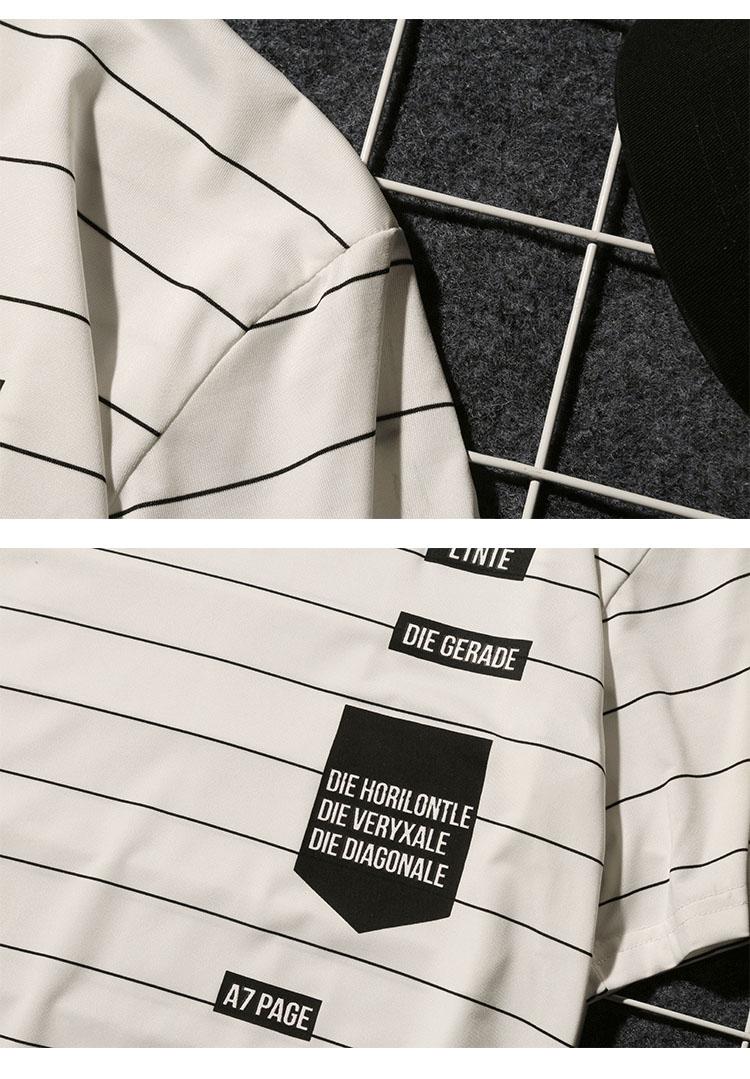 Summer T-shirt Men's Short-sleeved Fashionable Half-sleeved Round-collar Slim Men's Stripe Half-sleeved Clothes MW51 15