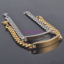 Newest Jewelry 15mm Men's ID Bracelet Stainless Steel Gold / Silver Chain Bracelets For Men 22cm*15mm High Quality