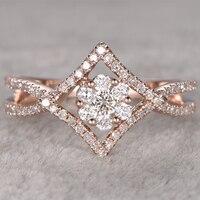 Simffvn 반지 14 천개 골드 0.7ctw 라운드 화이트 사파이어 약혼 결혼 약속 반지 신부 반지 원래 보석